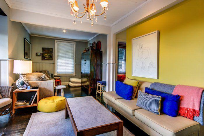 farbgestaltung wohnzimmer wandgestaltung wanddesign gelb wand ...