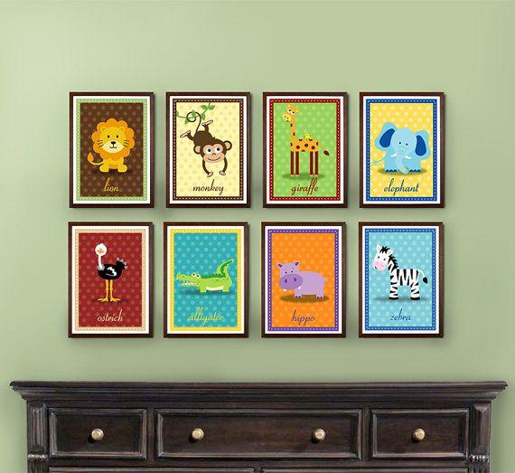 Set of 8 safari zoo jungle animal prints 4x6 5x7 8x10 for 5x7 room design