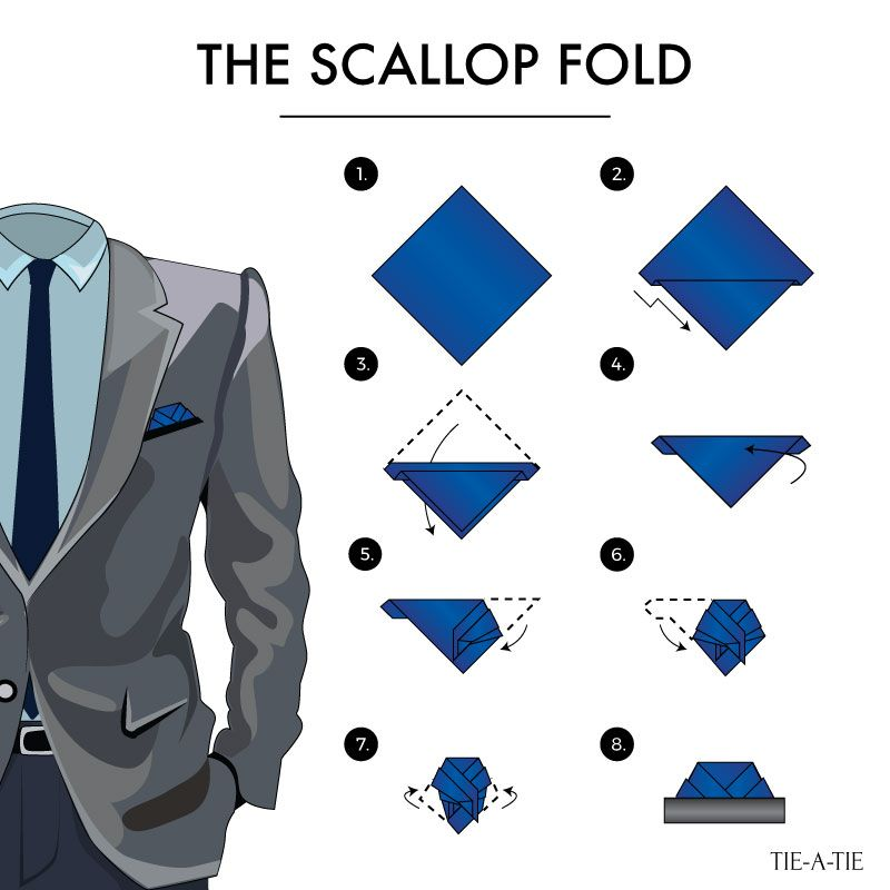 1695ea60bebb7 Detailed folding instructions for pocket squares: The Scallop Fold. Click  image for even more detailed instructions.