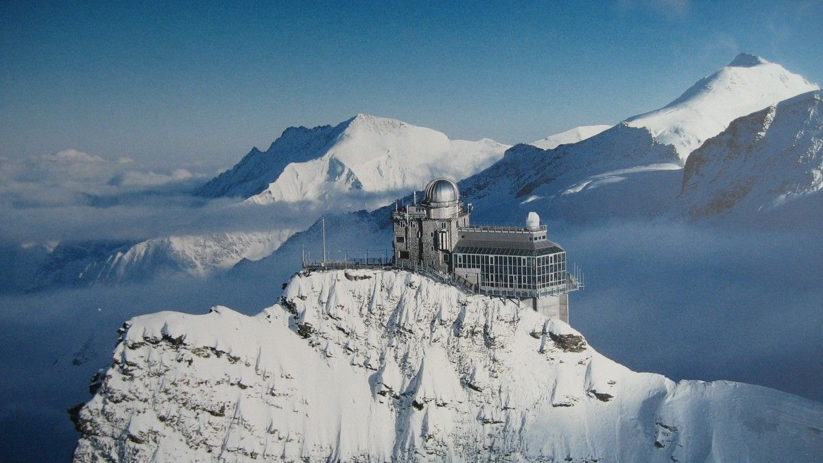 beautiful Sphinx Observatory, Bern Valais, Switzerland.