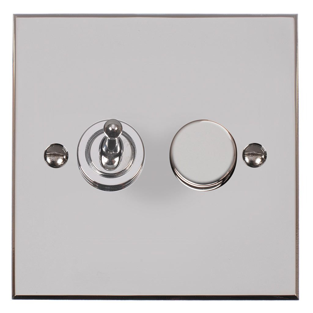 2 Gang Chrome Dolly Rotary Dimmer Switch Nickel Bevelled Plate Dimmer Dimmer Switch Chrome