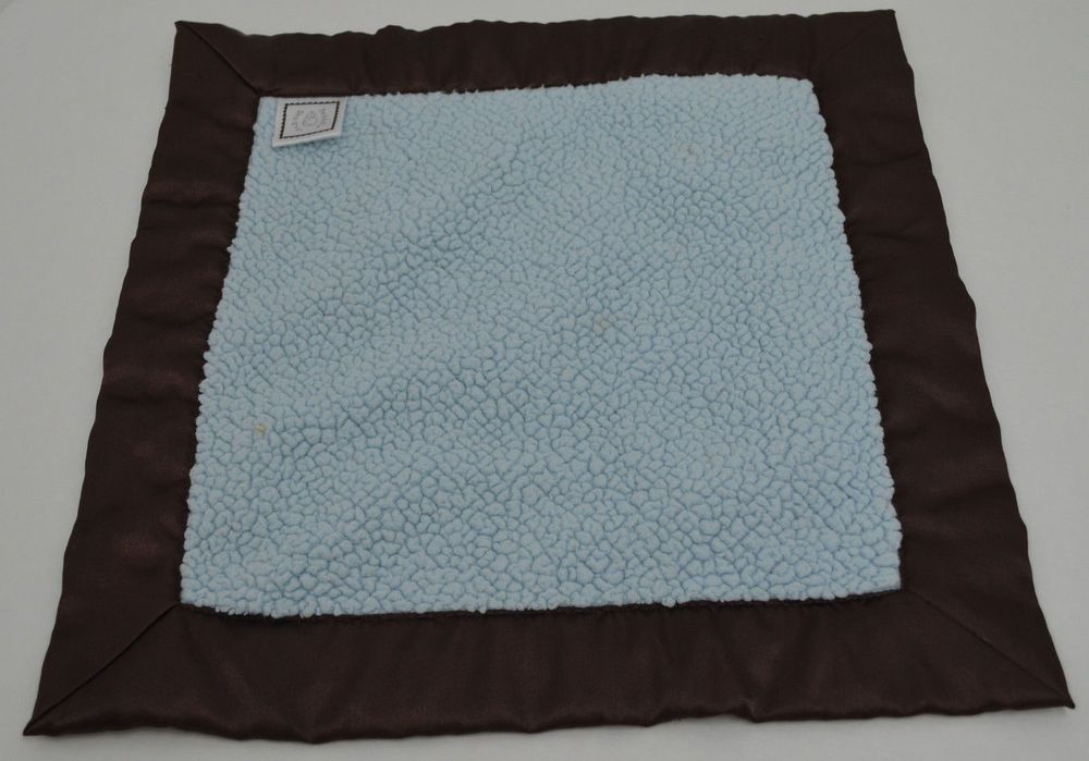 """Boutique Swaddle Designs Blue Brown Baby Security Blanket Lovey 13""""x13""""  #SwaddleDesigns"""