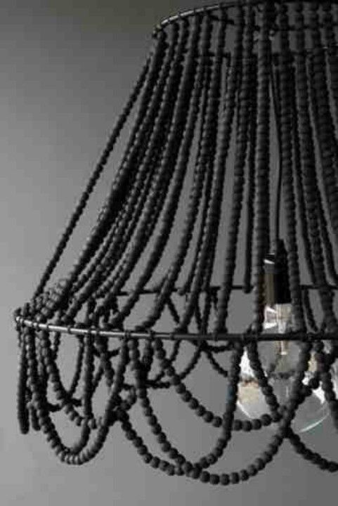 Diy Black Beaded Chandelier With Lamp Frame Can Also Use Hanging