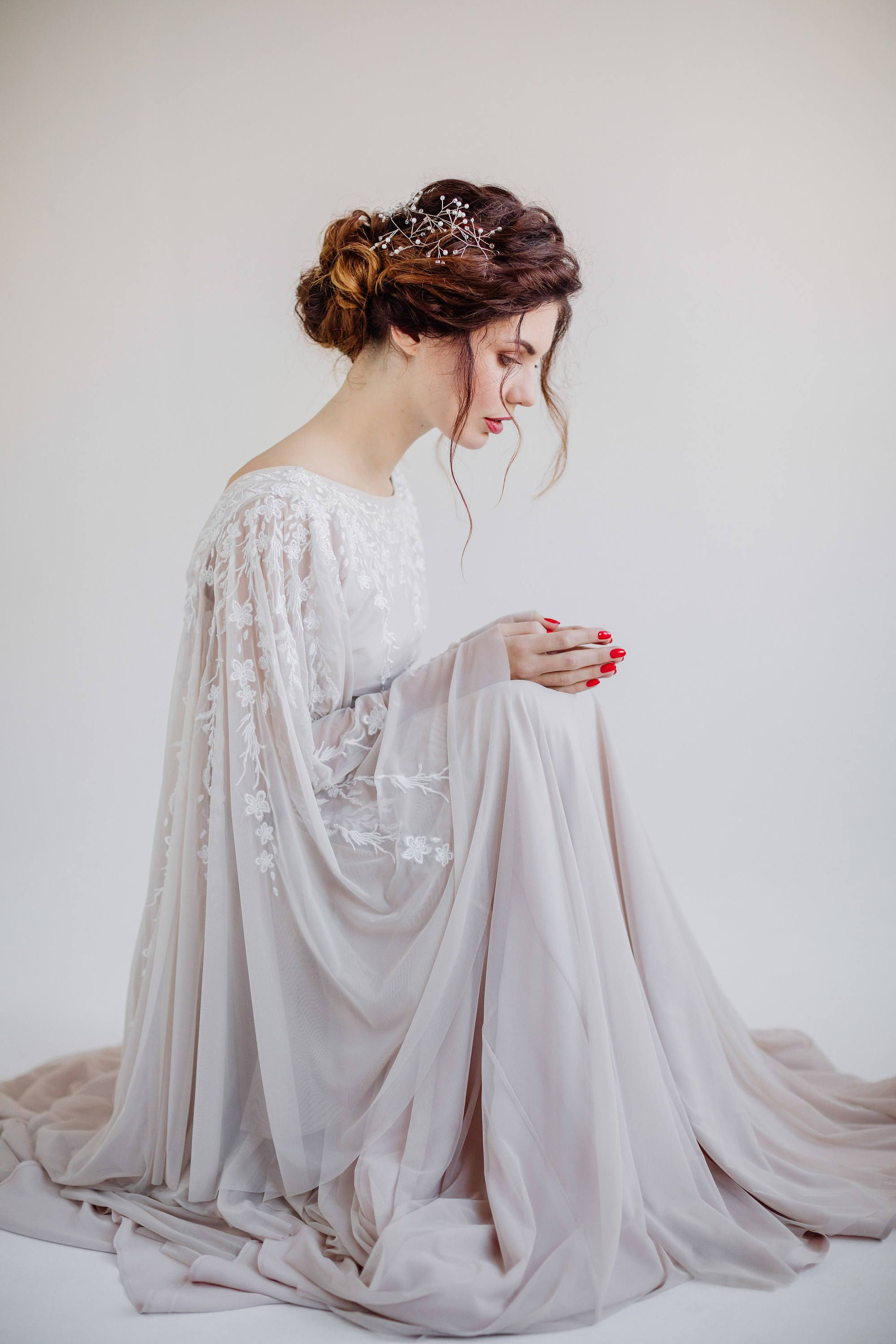 Batwing sleeve wedding dress with embroidered bodice