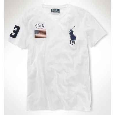 Polokey Ralph Lauren Tees USA Flag In White MPRLTe3