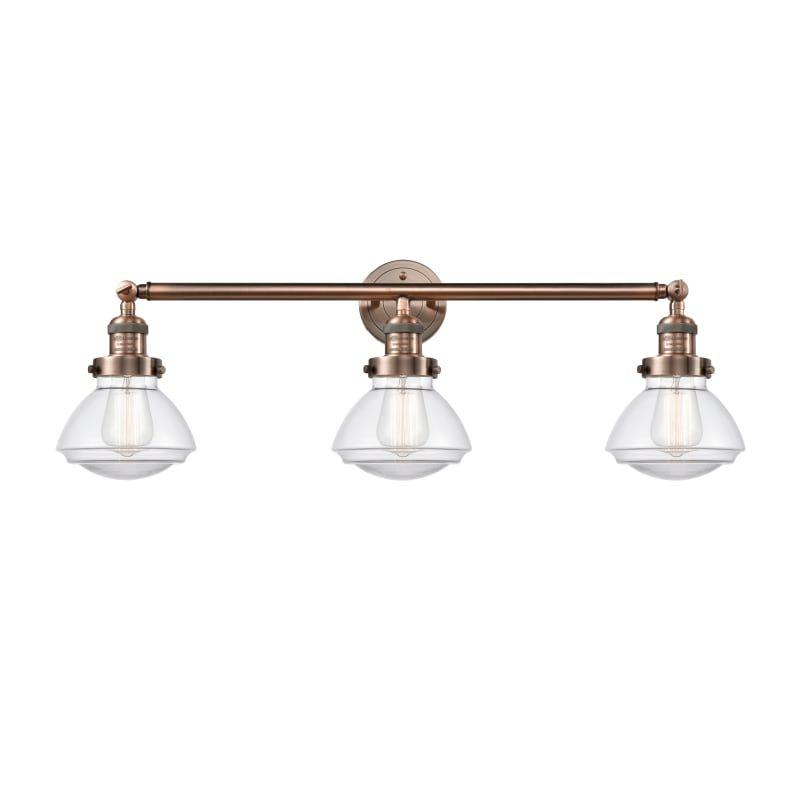 "Photo of Innovations Lighting 205 Olean Olean 3 Light 31 ""Wide Bathroom Basin Light Antique Copper / Clear Interior Lighting Bathroom Faucets Basin Light"
