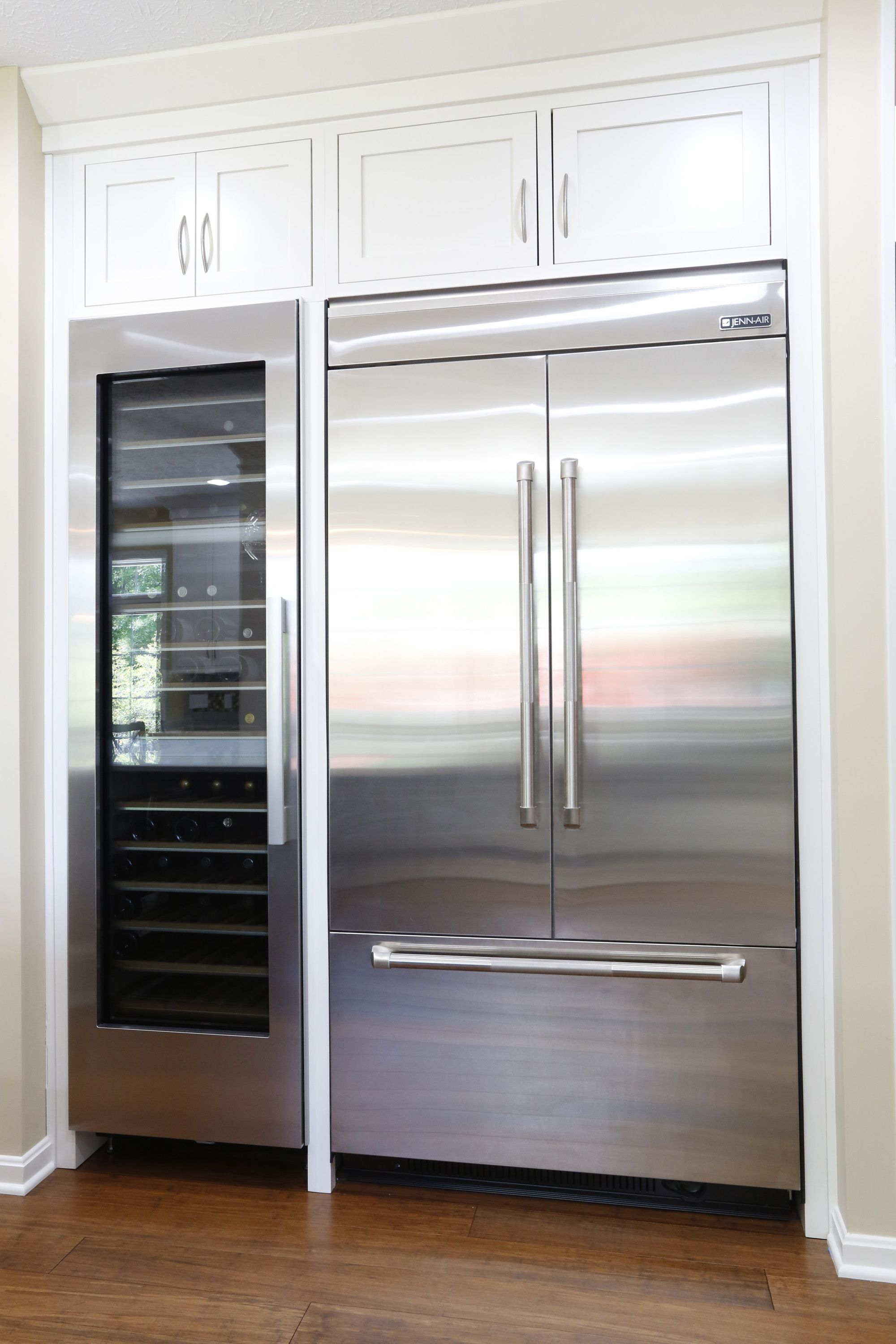 Jenn Air 42 Integrated Built In French Door Refrigerator Next To A Miele Wine Fridge Has This Kitchen Ready And Pr Kitchen Inspirations Kitchen Kitchen Design