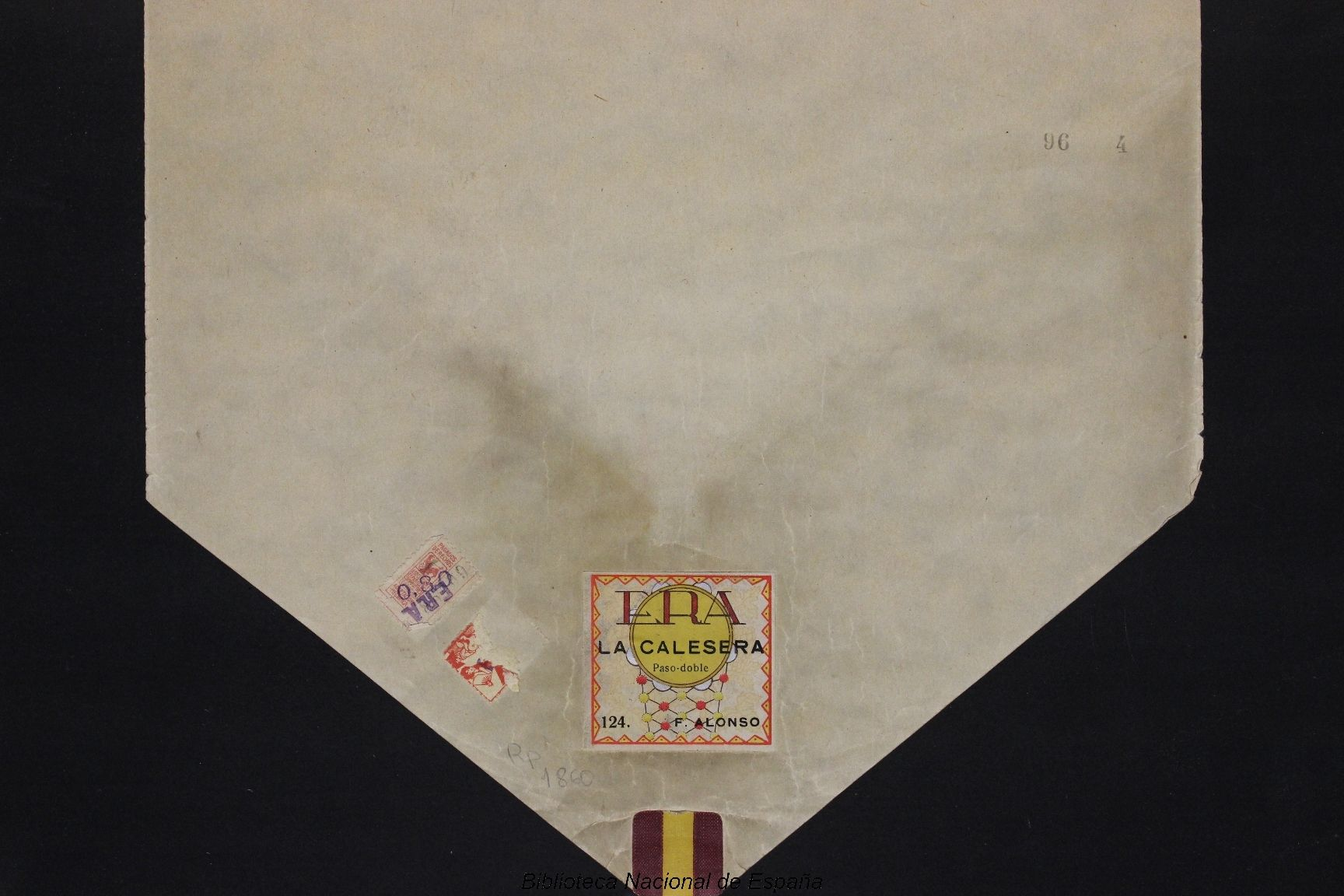 La Calesera [Grabación sonora] : Gavota / F. Alonso. --      Madrid : ERA, [entre 1925 y 1936]          1 rollo de pianola ; 32 cm