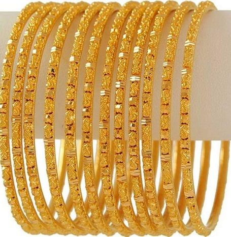 10 Latest Collection Of Gold Bangles In 10 Grams Styles At Life Gold Bangle Set Gold Bangles Design Gold Earrings Designs