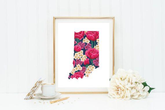 Fl Indiana State Print Nursery By Sweetashoneydigital On Etsy