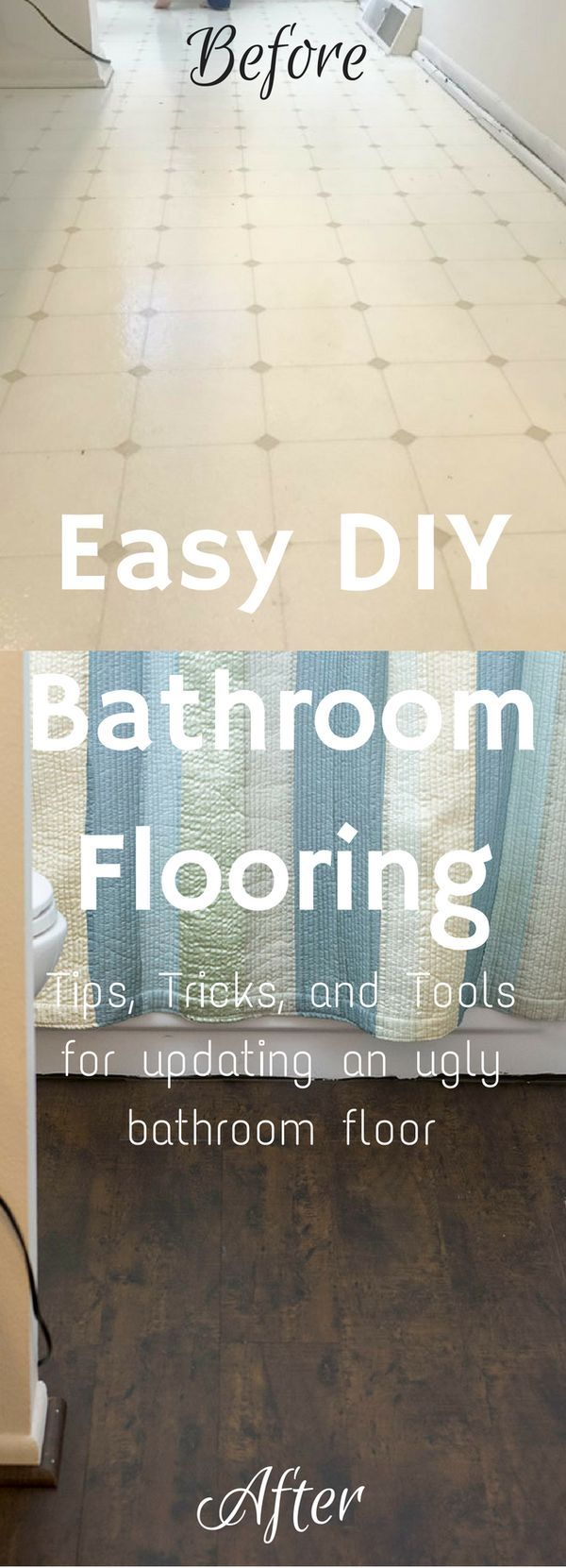 Bathroom Remodel / Bathroom Ideas / Bathroom On A Budget / Bathroom  Makeover / Flooring Ideas / Floor DIY / Floor Ideas / Cheap Floor (Diy  Bathroom Remodel)