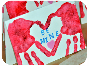Painted Hand Print Heart Cards For