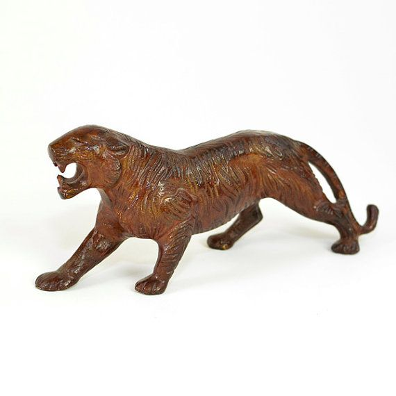 #Vintage #Bengal #Tiger #Statue #Figurine  Large Brown #Painted #Brass by OneRustyNail on #Etsy