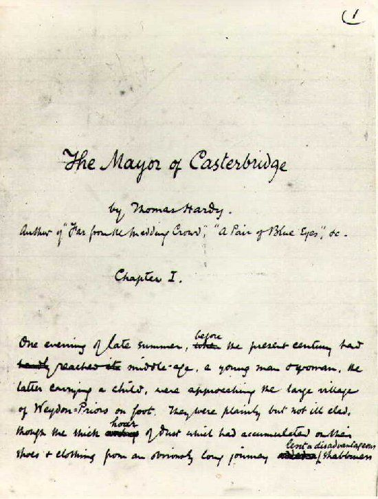 Thomas Hardy\'s The Mayor of Casterbridge, handwritten. \