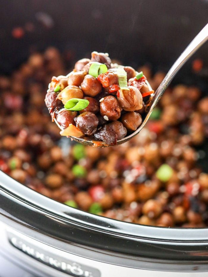 Kung Pao Chickpeas In A Slow Cooker
