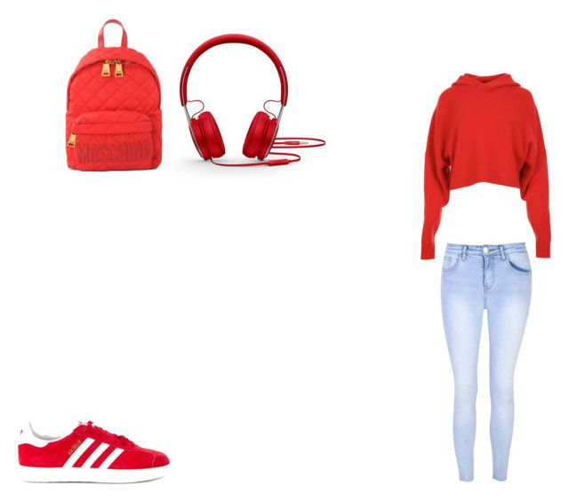 """Red Rules"" by queenb-676 ❤ liked on Polyvore featuring TIBI, Glamorous, Moschino, adidas Originals, Beats by Dr. Dre, cute and red"