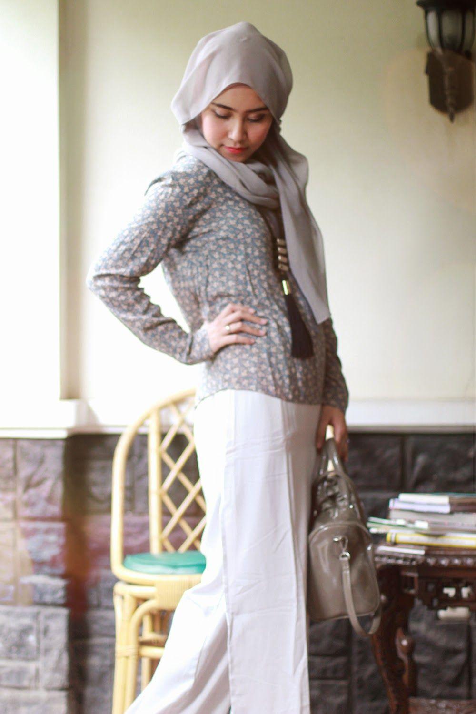 Plain meets Pattern  Gaya hijab, Model pakaian
