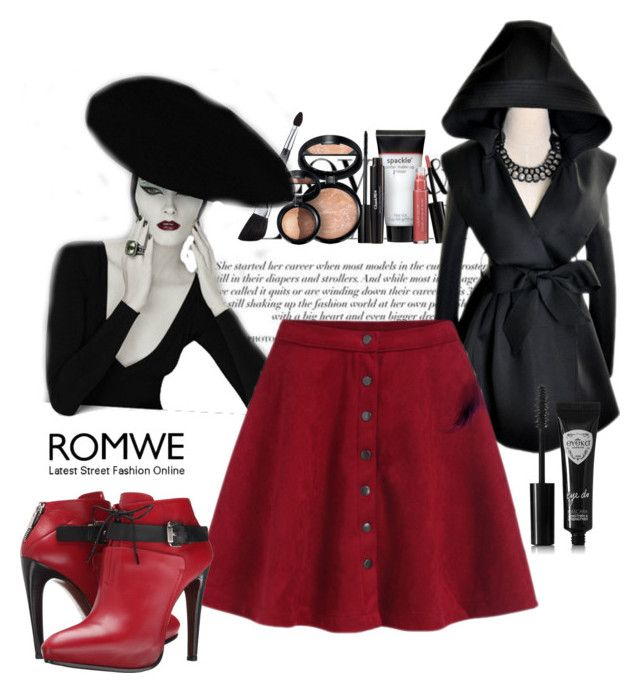 """""""Flare Red Skirt"""" by mamiigou ❤ liked on Polyvore featuring moda, Laura Geller, Eyeko i COSTUME NATIONAL"""