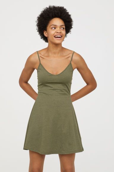 Photo of Short Jersey Dress – Green melange – Ladies | H&M US
