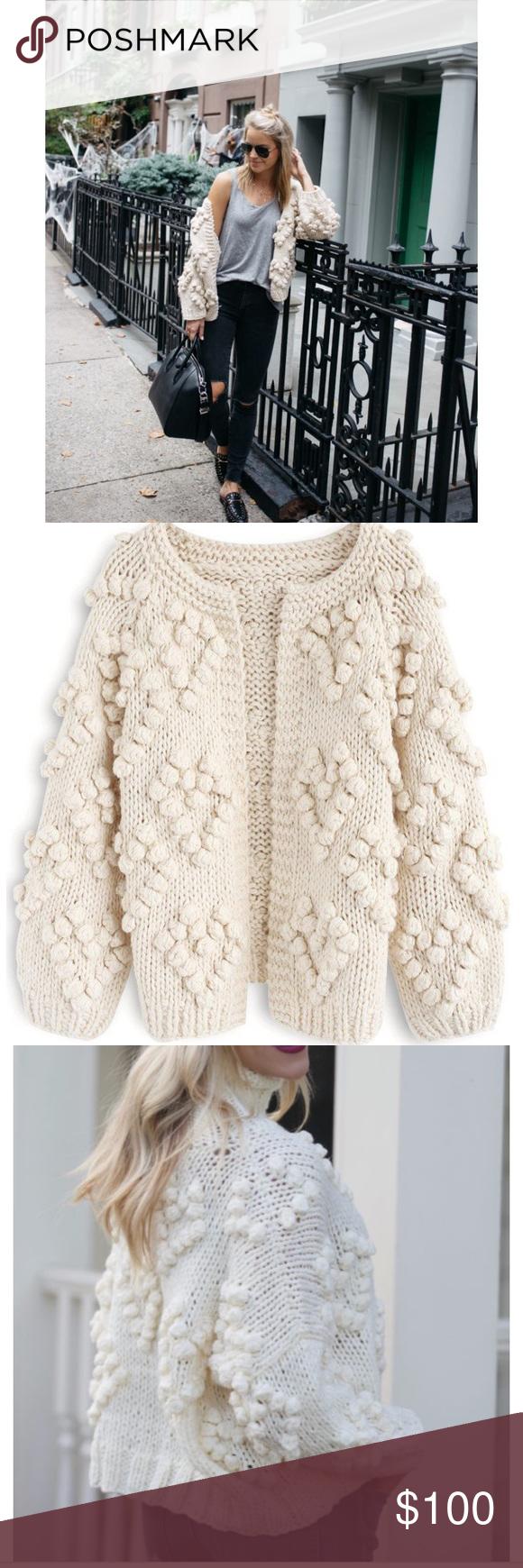 Chicwish Knit Your Love Cardigan Nwt L Xl Knitting Yarn Ball Ball Trim