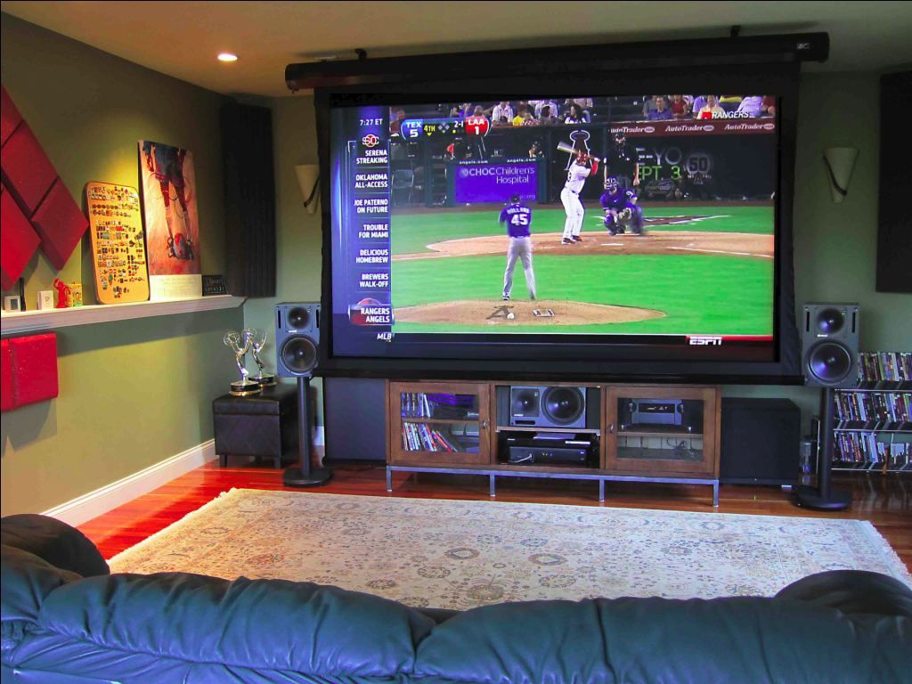 Showroom design contemporary home theater minneapolis by - Epson Home Cinema 8700 Ub And Elite Cinetension 2 Electric Screen Screen Home Theater Baseball