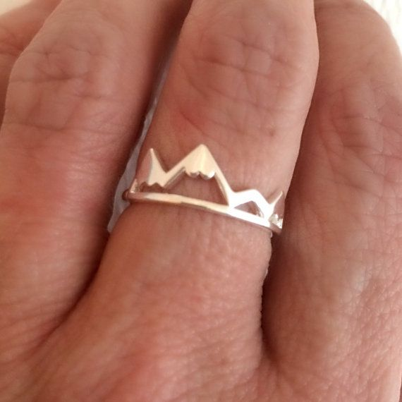 925 Sterling Silver Mountain Two triangle Bohemian Ring bhft00ebk
