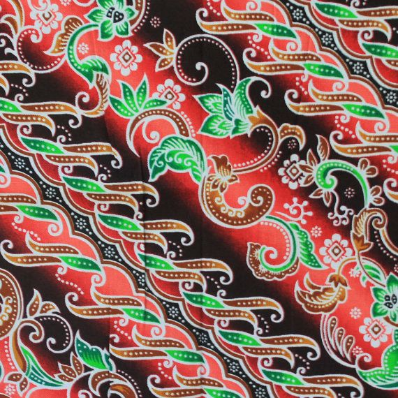 Red And Black Thai Traditional Print Thai Batik By