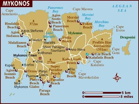 Mykonos Map Mykonos Is One Of The Most Famous Destinations