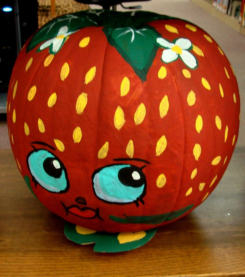 Strawberry Kiss Shopkin Pumpkin Painted Pumpkin