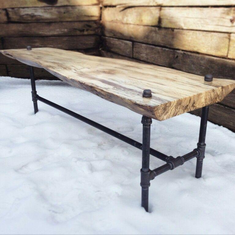 Rustic Wood Slab Industrial Coffee Table: Live Edge Spalted Oak Coffee Table With Industrial 3 Leg