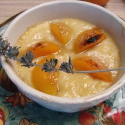 perfect for those cold nights, a warm, lavender infused ,honey pudding with pluiots.