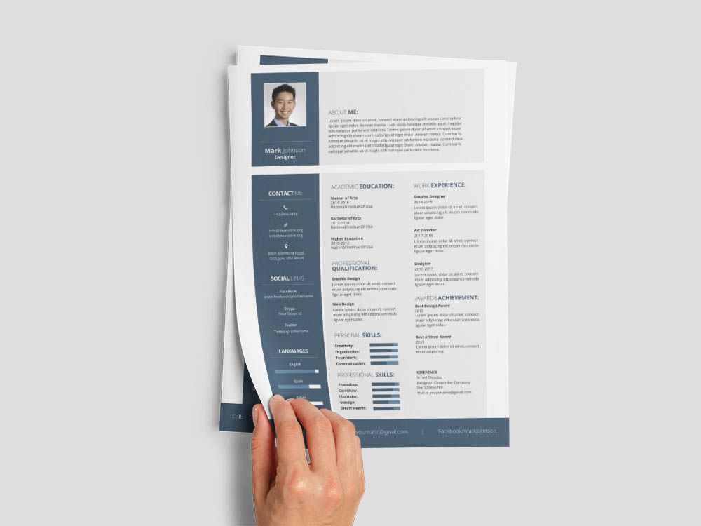 Free designer resume template for with simple and elegant