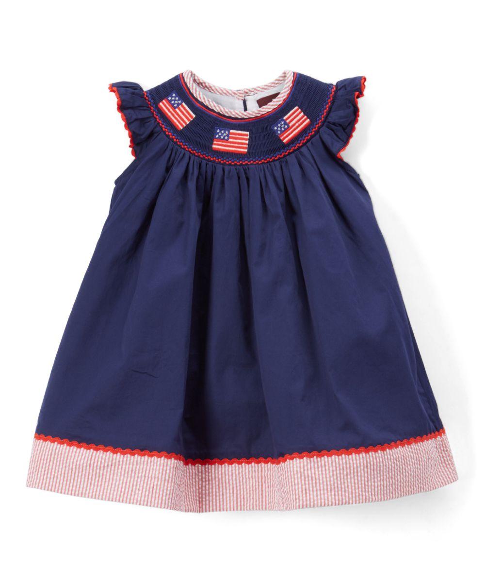 8497971f8 Blue   Red Flag Smocked Bishop Dress - Infant Toddler   Girls ...
