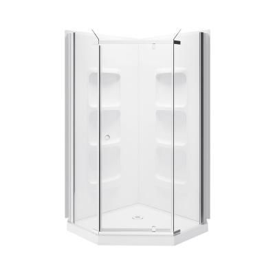 A E Lizan 38 5 In X 75 In Frameless Shower Wall And Base Kit