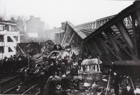 The Lewisham rail crash occurred on the Lewisham by-pass line in London at about 6:20pm on December 4, 1957. In dense fog, an electric train to Hayes stopped at a signal under a bridge and the following steam train to Ramsgate crashed into it, with the collision causing the bridge to collapse onto the steam train. There were 90 fatalities and 109 people were detained in the hospital.