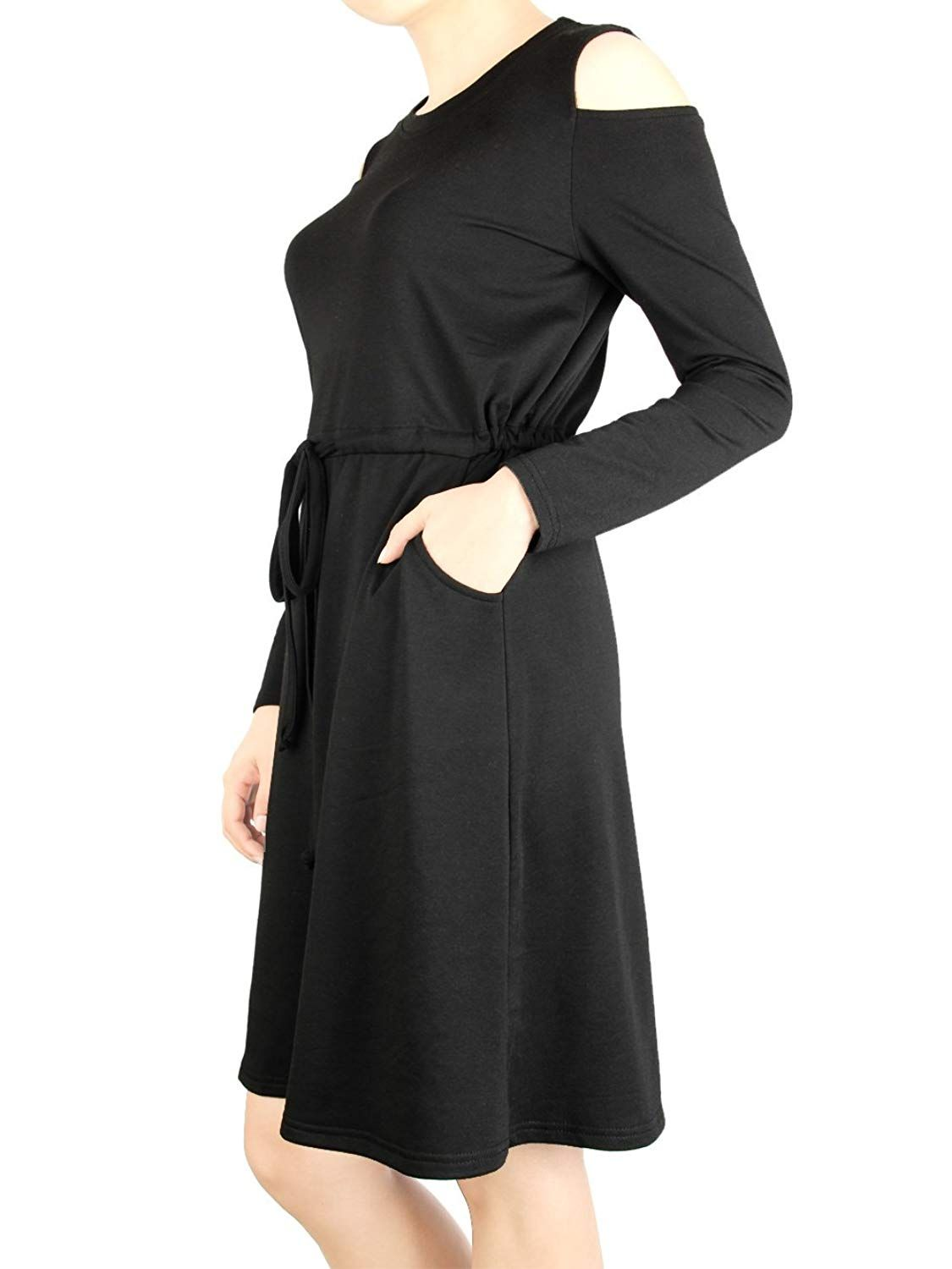 Calvin and sally womenus long sleeve cold shoulder loose swing tunic
