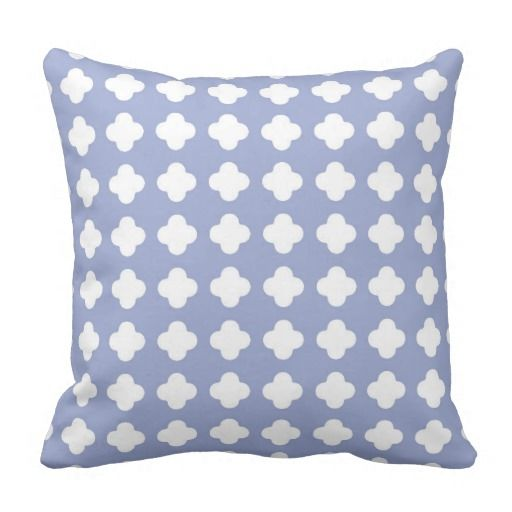 Serenity blue decorative pillow in clover pattern throw cushions