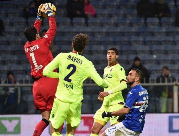 Angelo Da Costa of Bologna saves of Fabio Quagliarella of Sampdoria during the Serie A match between UC Sampdoria andv Bologna FC at Stadio Luigi Ferraris on February 12, 2017 in Genoa, Italy.