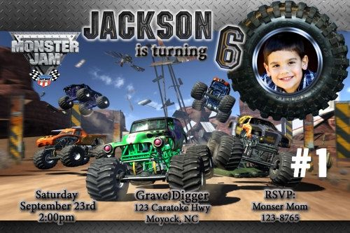 monster truck jam grave digger destruction photo birthday party, party invitations