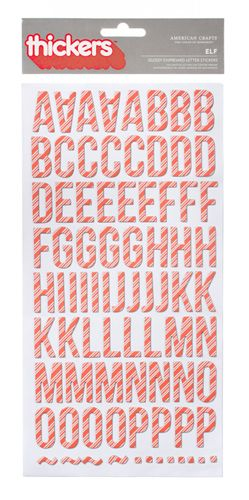 American Crafts - Hollyday Collection - Christmas - Thickers - Glossy Chipboard Alphabet Stickers - Elf -Red