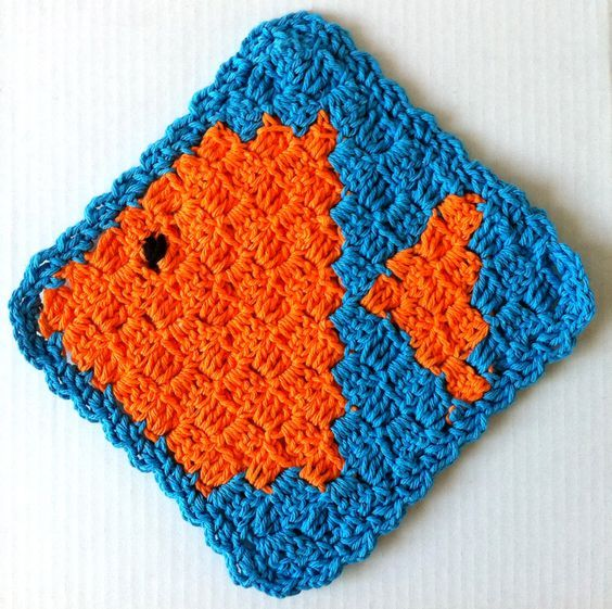 Fish Dishcloth Pattern Crochet Several Of These Blocks And Join