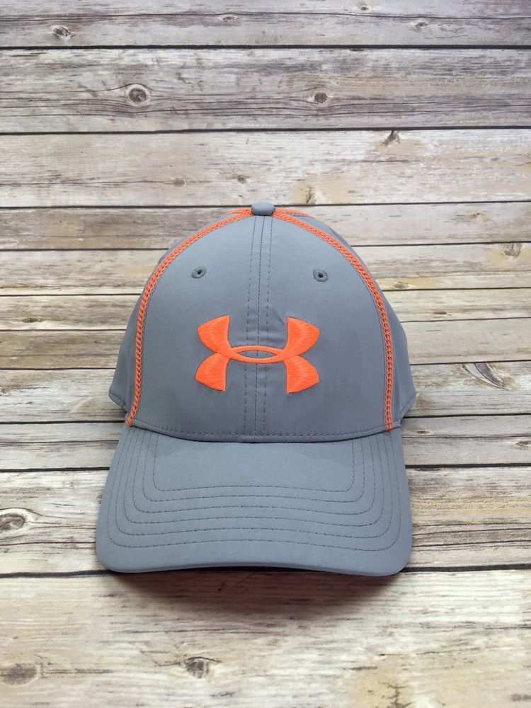 UNDER ARMOUR Hat Huddle Stretch Fit Fitted Cap Grey Orange Men s M L  1240057  Underarmour  BaseballCap 02084a4535b