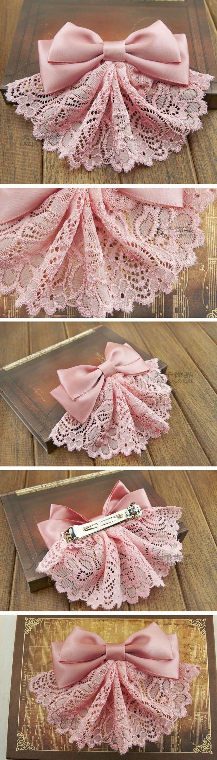 Lace bow hair accessories | BODA CIVIL Y VESTIDO DE NOVIA CORTO ...