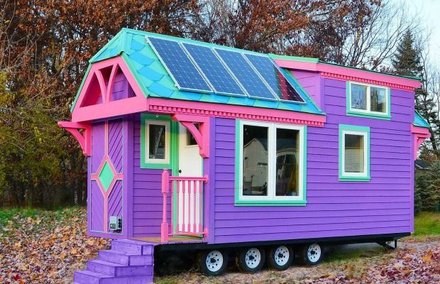Tiny Green Cabins, 176 sq ft. Colorful Victorian Tiny House - Small-Space Living