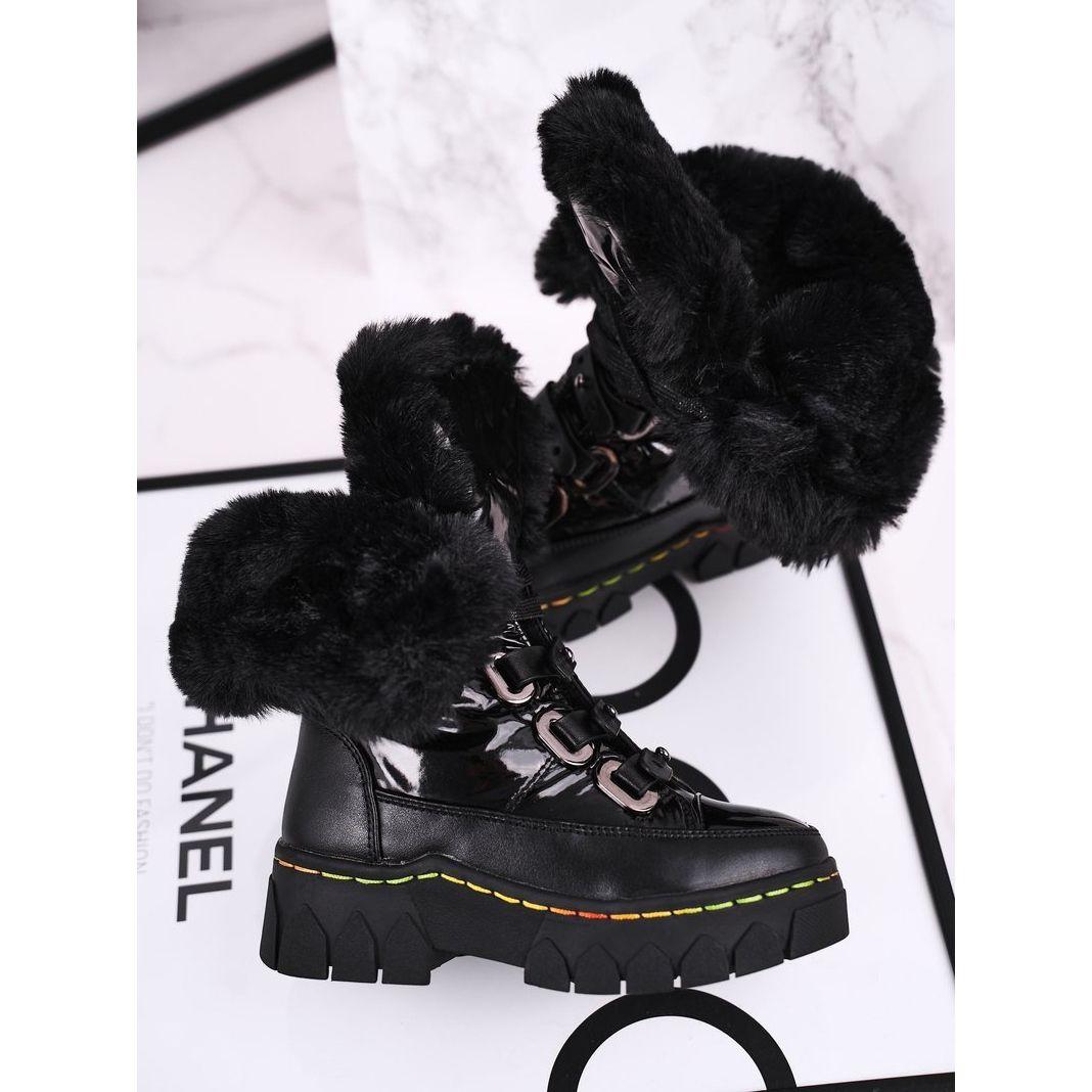 Apawwa Dzieciece Sniegowce Ocieplone Futerkiem Czarne Turismo Sorel Winter Boot Boots Combat Boots