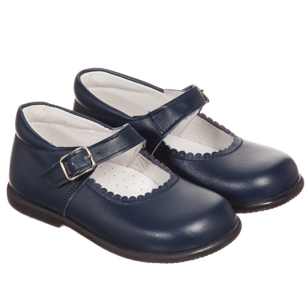 Girls Navy Blue Leather Shoes | Blue