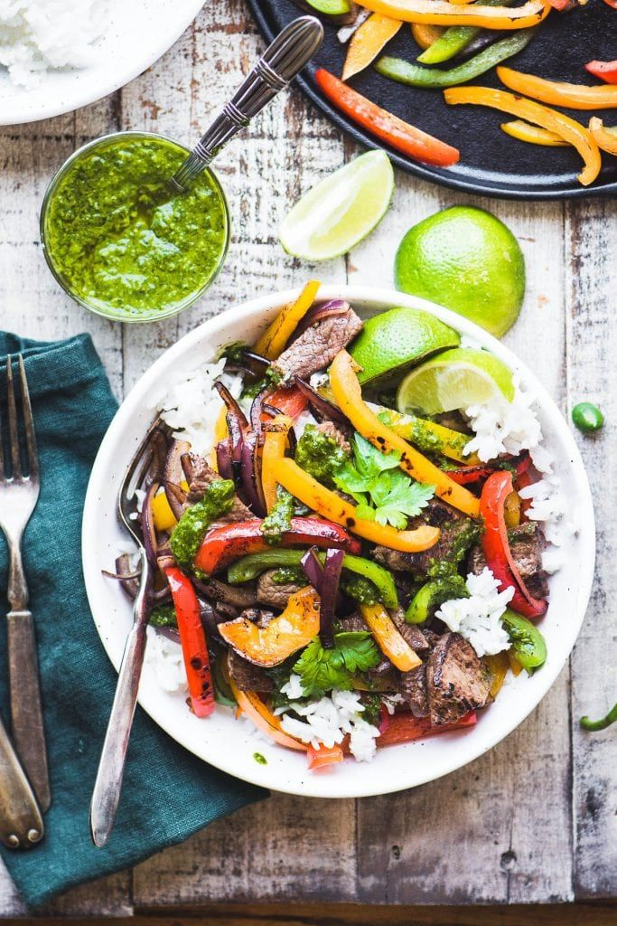 Steak Fajita Bowls with Chimichurri Sauce Steak Fajita Bowls with Chimichurri Sauce is an easy 30 minute meal that gives you that just off the grill flavor before you can say