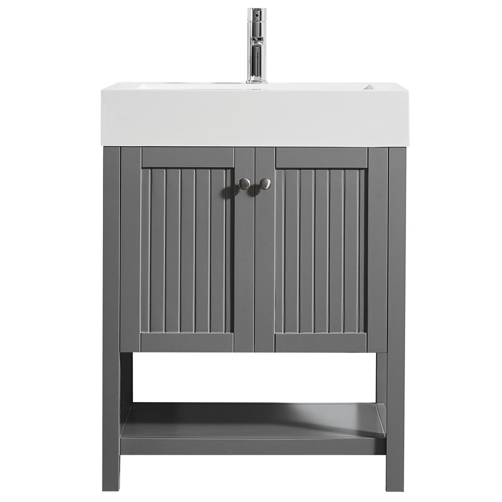 Roswell Pavia 28 In W X 20 In D Vanity In Grey With Acrylic Vanity Top In White With White Basin 755028 Gr Wh Nm Single Bathroom Vanity Vanity Top Bathroom Vanity