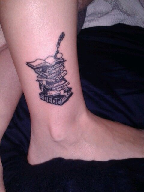 Small Book Tattoo: My Tattoo! A Stack Of Books On My Ankle.