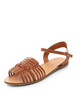 99dbbd67bbc Wide Fit Tan Plaited Woven Strap Sandals